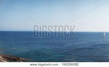 Sea panorama with sailboats Sardinia Santa Teresa Gallura