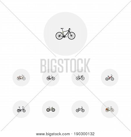 Realistic Exercise Riding, Journey Bike, Folding Sport-Cycle And Other Vector Elements. Set Of Bike Realistic Symbols Also Includes Folding, Adolescent, Teenager Objects.