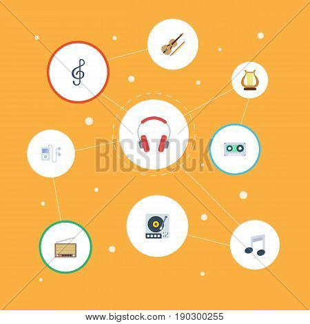 Flat Icons Fiddle, Quaver, Tape And Other Vector Elements. Set Of Audio Flat Icons Symbols Also Includes Instrument, Mp3, Gramophone Objects.