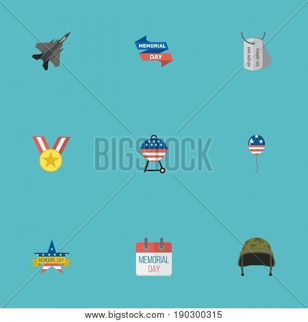 Flat Icons Identity, Memorial Day, Medallion And Other Vector Elements. Set Of Memorial Flat Icons Symbols Also Includes Calendar, Mom, Bbq Objects.