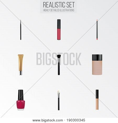 Realistic Liquid Lipstick, Powder Blush, Cover And Other Vector Elements. Set Of Maquillage Realistic Symbols Also Includes Eye, Tassel, Pencil Objects.