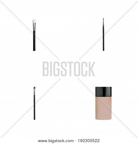 Realistic Powder Blush, Concealer, Eye Paintbrush And Other Vector Elements. Set Of Cosmetics Realistic Symbols Also Includes Skincare, Foundation, Lips Objects.