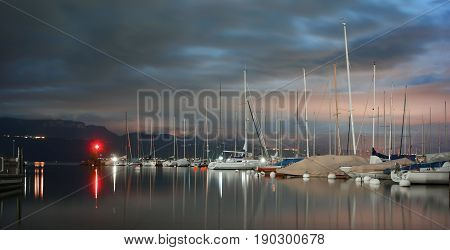 Pully in Vaud Canton at night by the shores of Lake Leman (Lake Geneva)