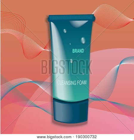 Cream ads, makeup tube template. Design cosmetics product advertising. Vector illustration for cream, soups, foams.