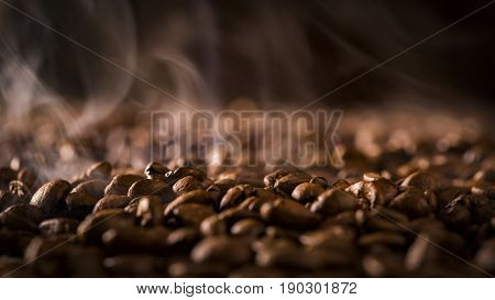 Aroma Of Coffee, Roasted Coffee Bean, Rising Smoke.