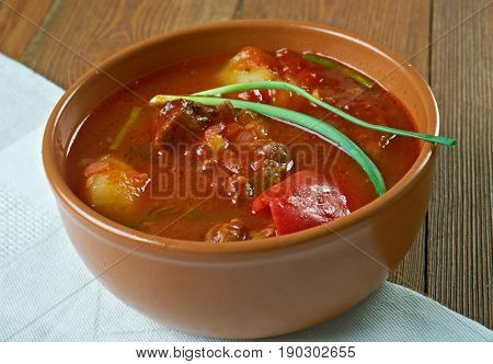 bogorash Magyar meat traditional soup. close up