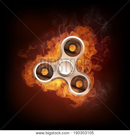 Fidget spinner in fire isolated on black background. Finger spinner burning in fire banner with space for text. Hand spin toy illustration.