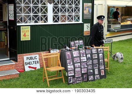 Beaulieu, Hampshire, Uk - May 29 2017: Display Showing Arp (air Raid Patrol) Uniforms And Other Equi