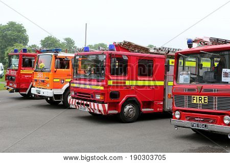 Beaulieu, Hampshire, Uk - May 29 2017: Vintage Dennis, Mercury And Renault Fire Engines At The 2017