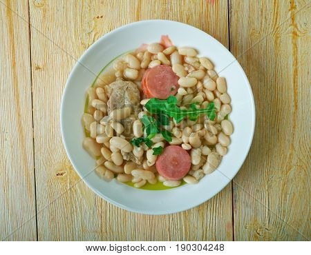 Cassoulet pur porc /Traditional French cuisine. close up