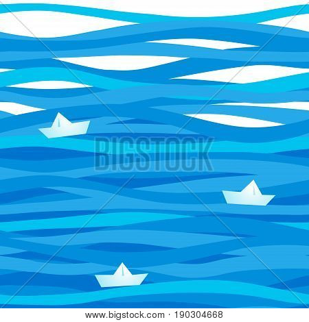 Seamless Sea Pattern With Waves.