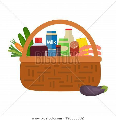 Wicker basket full of food and drinks isolated on a white background. There are milk, sausage, cheese, cucumber, eggplant and other products in the picture. Vector illustration