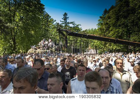 Piekary Sl, Poland, May 28, 2017: Pilgrimage of men and young men to the Shrine of Mary, Mother of Love and Social Justice