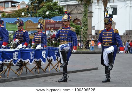 QUITO, ECUADOR - JANUARY 28, 2016: An unidentified guards in march during the change of turn of the Presidential Palace in the heart of Quito.