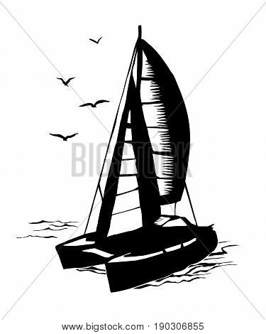 Catamaran sailboat monochrome silhouette. Vector sketch with stylized waves in the summer sea regatta yahtiny extreme