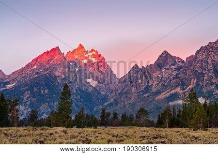 Mountain Peaks At Grand Teton At Sunrise, Usa