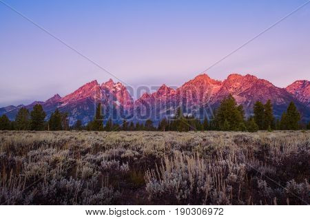 Landscape Sunrise View At Grand Teton Mountains, Usa
