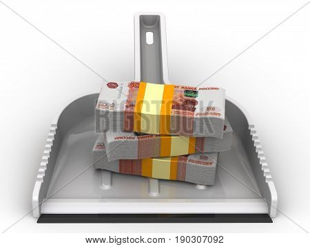 Money like garbage. The financial concept of the devaluation of the Russian ruble. Isolated. 3D Illustration