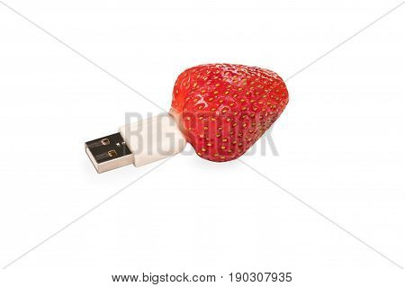 Conceptual photo - ripe strawberry with usb flash connector isolated on white background
