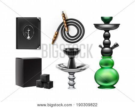 Vector set of hookah stuff stem, bowl, hose, menu holder, shisha tobacco and charcoal isolated on white background