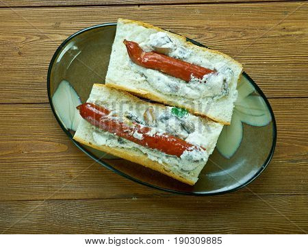 Baguette Franks. American traditional Food Culture hamburger.