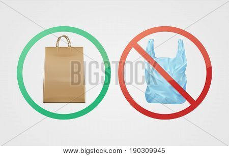 Vector environmentally friendly biodegradable paper bag against not degradable plastic
