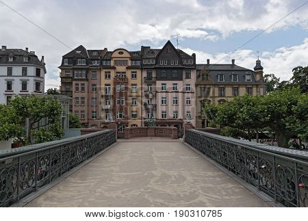 FRANKFURT, GERMANY-JUNE 07, 2017: The old iron pedestrian bridge Eiserner Steg, Frankfurt, Germany