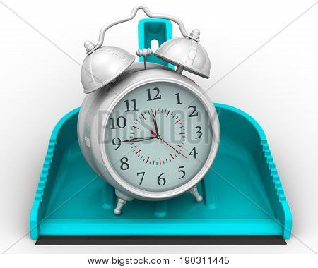 Uselessly wasted time. Scoop lies on a white surface with alarm clock. Isolated. 3D Illustration