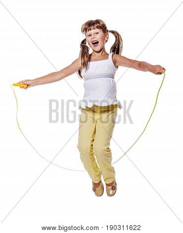 Girl Jumping Isolated