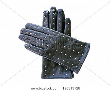 A pair of black leather gloves with decorative metal rivets isolated on white background.