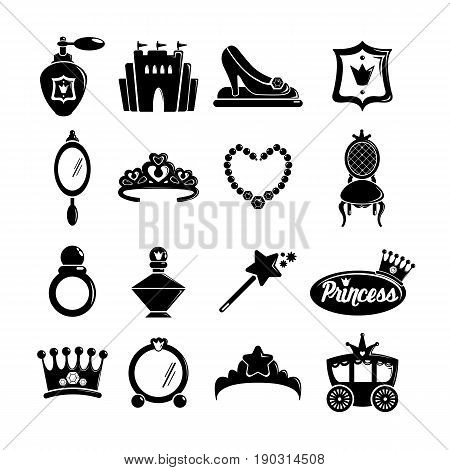 Princess doll icons set. Simple illustration of 16 princess doll vector icons for web