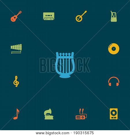 Set Of 13 Melody Icons Set.Collection Of Tape, Audio Device, Retro Disc And Other Elements.