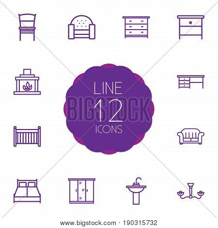 Set Of 12 Set Outline Icons Set.Collection Of Nightstand, Sofa, Closet Elements.
