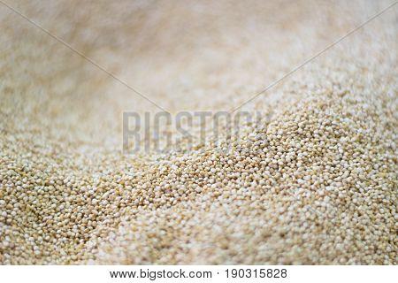 Quinoa seeds in a market. Chenopodium quinoa . Background.
