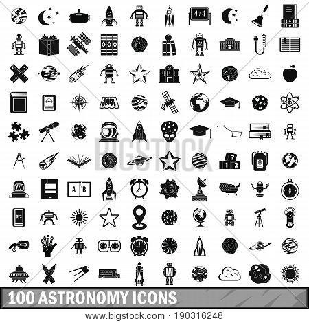 100 astronomy icons set in simple style for any design vector illustration