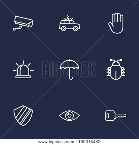 Set Of 9 Safety Outline Icons Set.Collection Of Hand , Protection , Virus Elements.