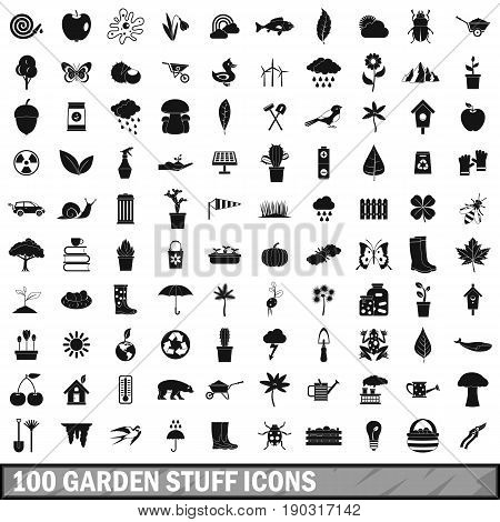100 garden stuff icons set in simple style for any design vector illustration