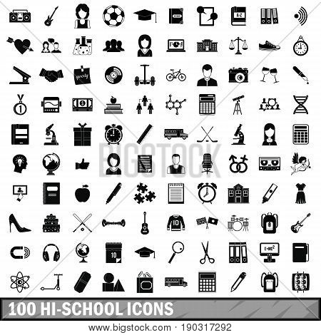 100 hi-school icons set in simple style for any design vector illustration