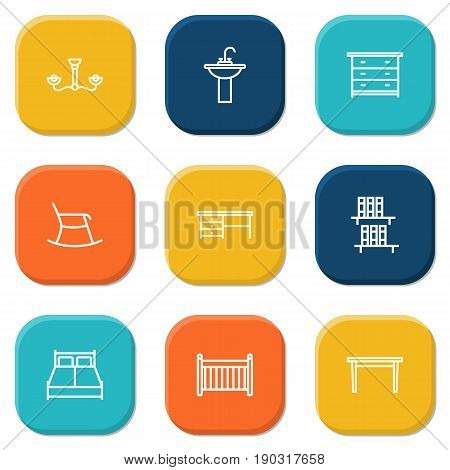 Set Of 9 Decor Outline Icons Set.Collection Of Desk, Chandelier, Moving Chair Elements.