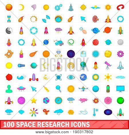 100 space research icons set in cartoon style for any design vector illustration