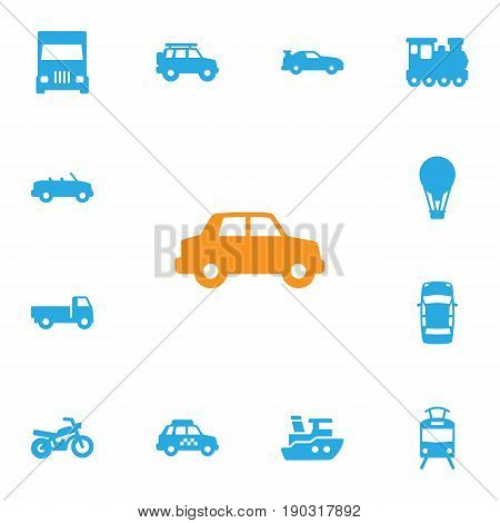 Set Of 13 Transport Icons Set.Collection Of Taxicab, Lorry, Boat And Other Elements.