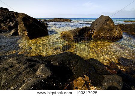 Froth Coastline In Lanzarote Water  Musk  And Summer