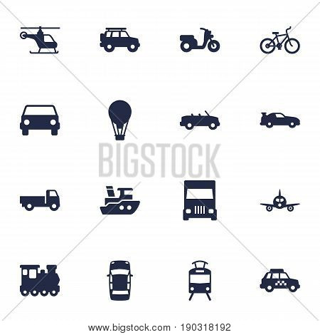 Set Of 16 Traffic Icons Set.Collection Of Bicycle, Taxicab, Cabriolet And Other Elements.