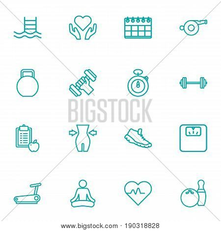 Set Of 16 Training Outline Icons Set.Collection Of Bowling, Diet, Trekking Shoes And Other Elements.