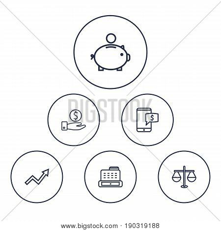 Set Of 6 Finance Outline Icons Set.Collection Of Grow Up, Cash Register, Justice And Other Elements.