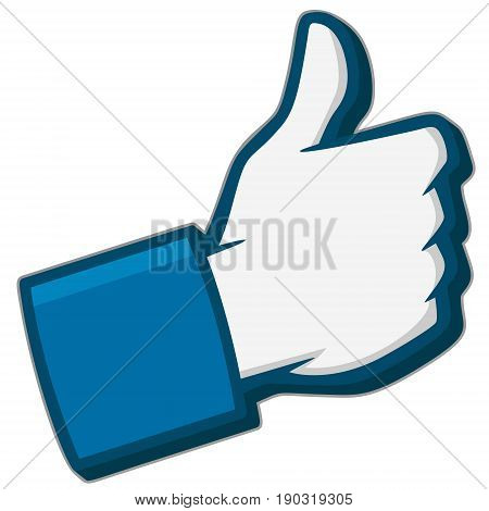 A vector illustration of a Like Us 3D Social Media Icon