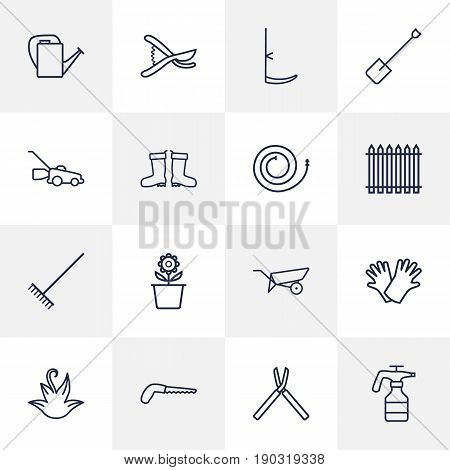 Set Of 16 Farm Outline Icons Set.Collection Of Atomizer, Herb, Firehose And Other Elements.