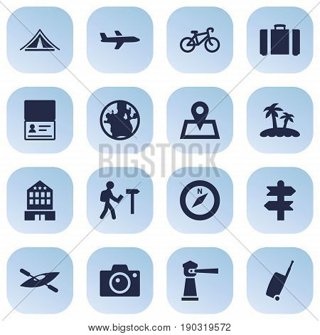 Set Of 16 Relax Icons Set.Collection Of Bike, Suitcase, Seamark And Other Elements.