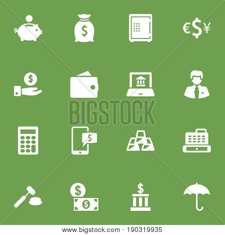 Set Of 16 Finance Icons Set.Collection Of Building, Purse, Worker And Other Elements.