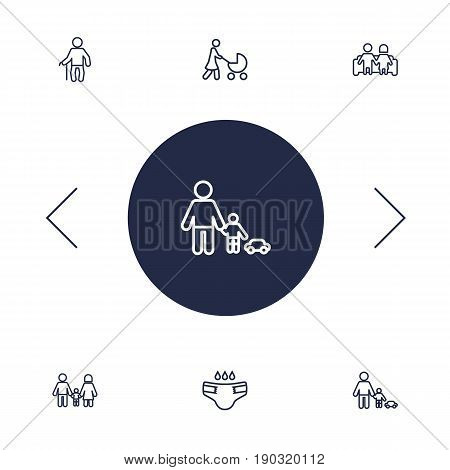 Set Of 6 Relatives Outline Icons Set.Collection Of Grandfather, Playing, Couple Elements.
